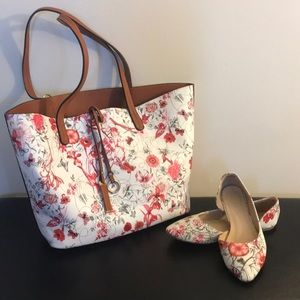 Handbags - 2 in 1 Floral Tote w/ floral flats (sz 6)